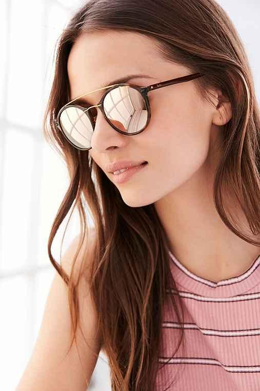 Ray-Ban Tech Light Round Aviator Sunglasses,BROWN,ONE SIZE