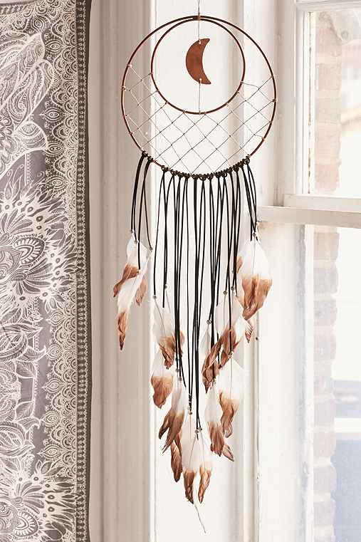 Crescent Moon Dream Catcher,BRONZE,ONE SIZE