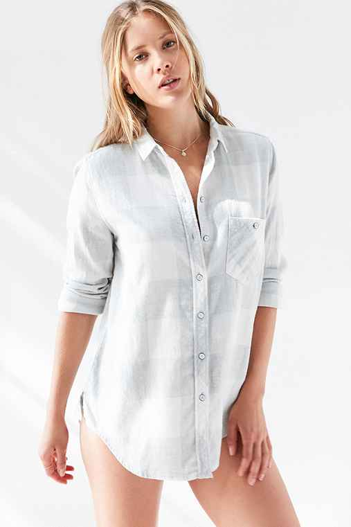 BDG Polly Flannel Button-Down Shirt,IVORY,L