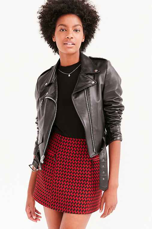 Cooperative Edith Houndstooth Mini Skirt,RED MULTI,0