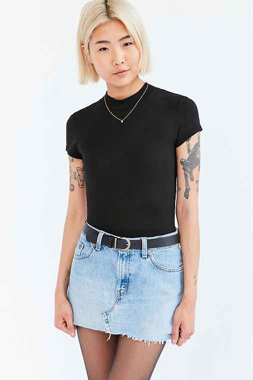 Truly Madly Deeply Maddie Mock Neck Tee,BLACK,L