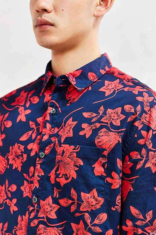 CPO Snapdragon Floral Button-Down Shirt,NAVY,L