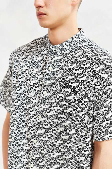 CPO Floral Band Collar Short-Sleeve Button-Down Shirt