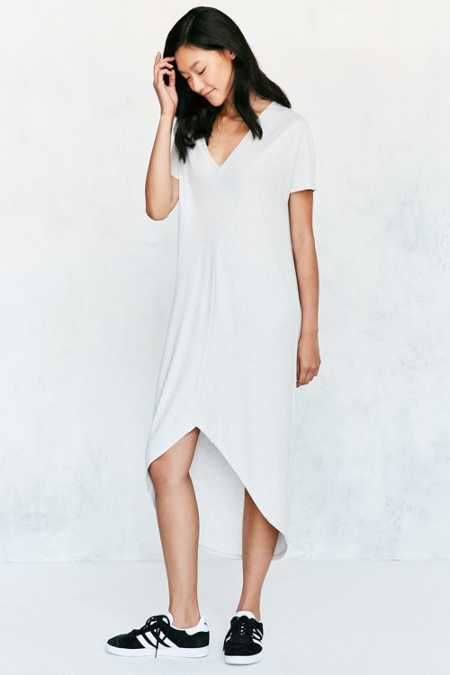 Silence + Noise Two-Tone Rib Cocoon Midi Dress