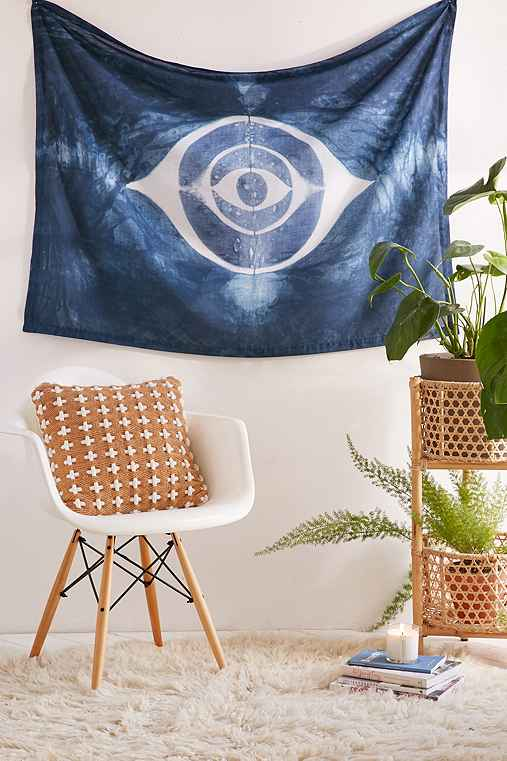 Graham Keegan Shibori Eye Tapestry,BLUE,ONE SIZE