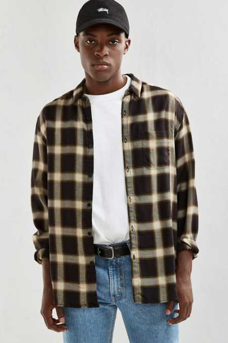 UO Plaid Rayon Button-Down Shirt