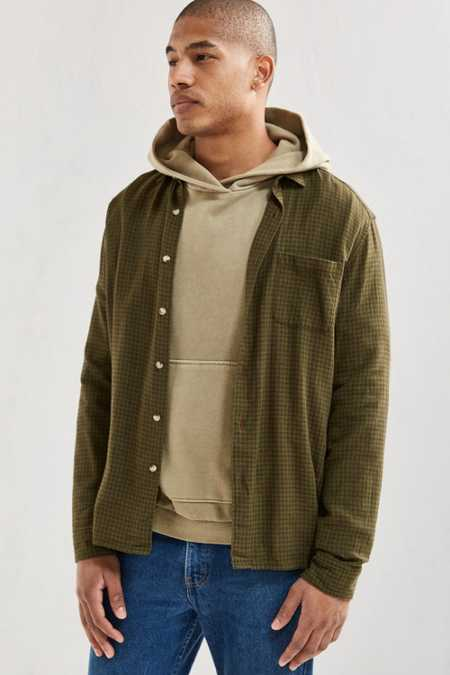 UO Micro Check Grindle Flannel Button-Down Shirt