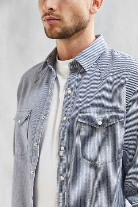 UO Hickory Stripe Denim Western Shirt