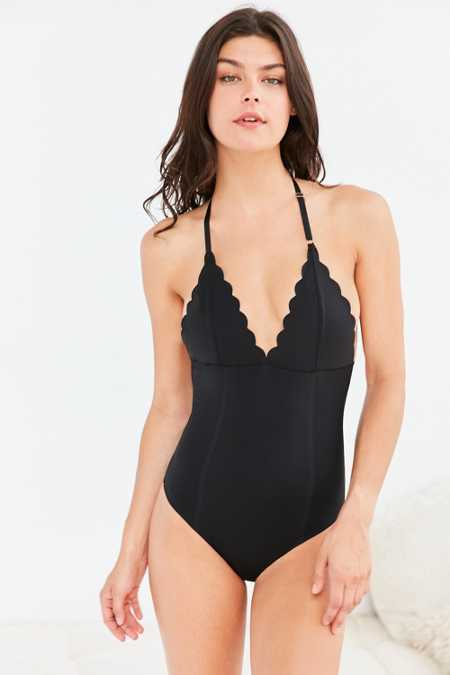 Out From Under Scalloped Halter Bodysuit