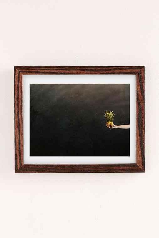 Max Wanger Pineapple Water Art Print,WALNUT WOOD FRAME,30X40