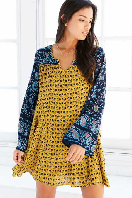 Patrons Of Peace Print-Mix Bell-Sleeve Mini Dress
