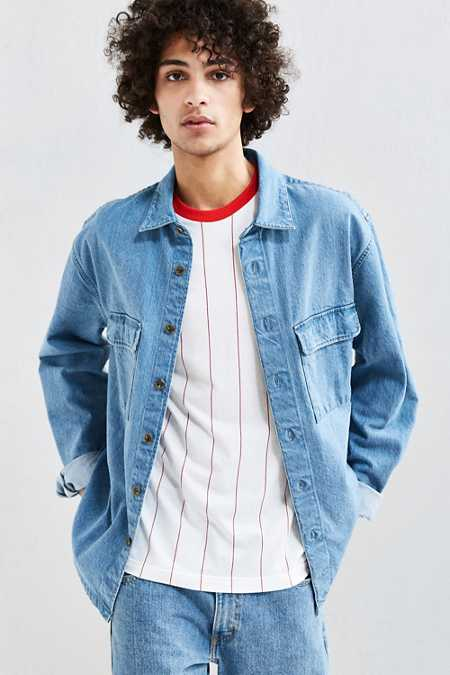 UO Heavyweight Denim Button-Down Over Shirt