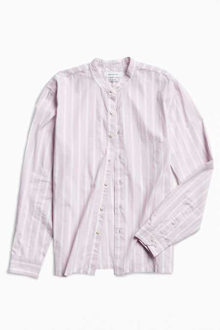 UO Vertical Stripe Band Collar Button-Down Shirt