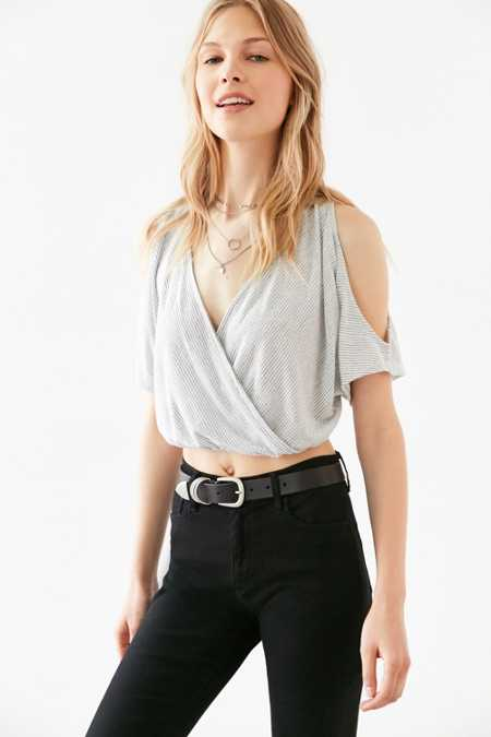 Ecote Zooey Surplice Cold-Shoulder Top