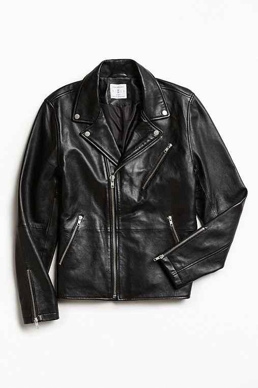 UO Napoli Leather Moto Jacket,BLACK,S