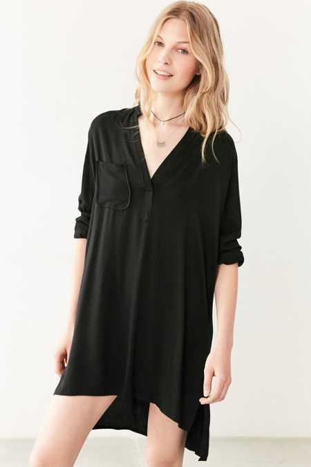 Silence + Noise Long-Sleeve Half-Placket Shirt Dress