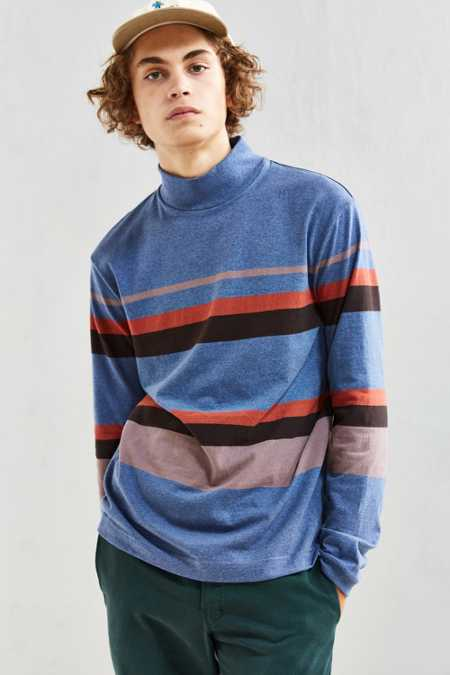 UO Box Fit Stripe Mock Neck Long Sleeve Tee