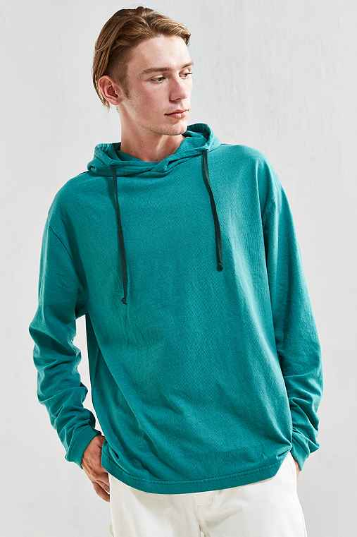 UO Box Fit Jersey Hoodie Tee,GREEN,S
