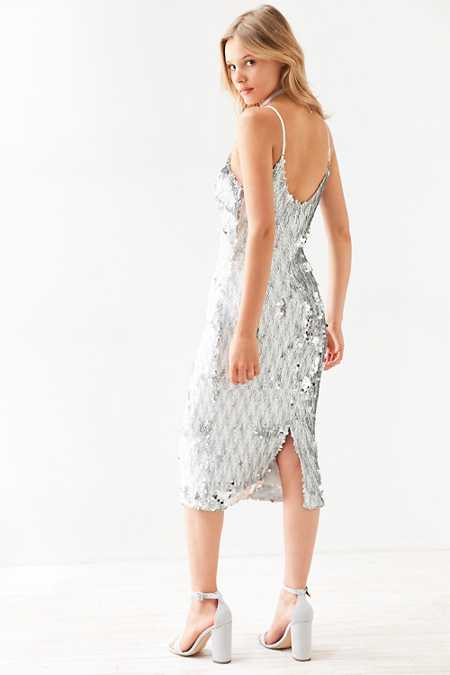 Dress The Population Nina Sequin Bodycon Midi Slip Dress