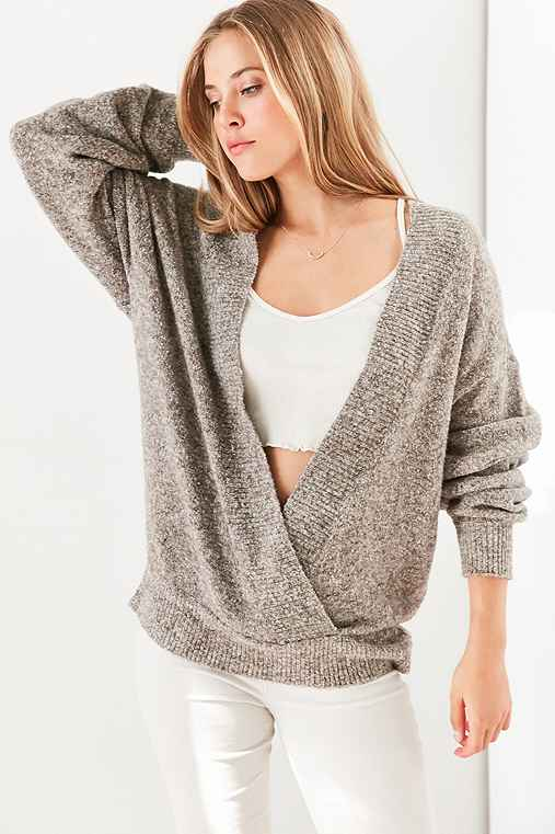 Silence + Noise Cozy Surplice Sweater,TAUPE,S