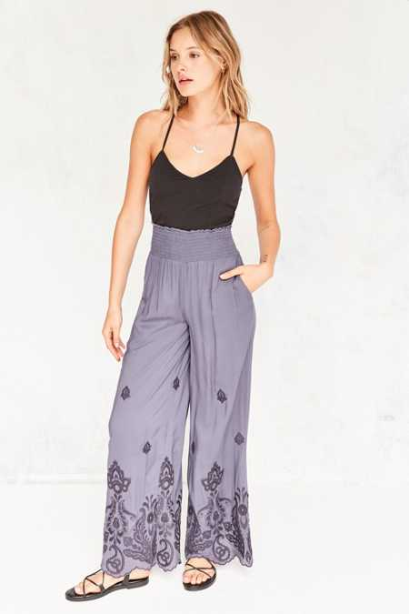 Ecote Analeigh Embroidered Pull-On Pant
