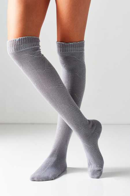 Out From Under Ruffled Cuff Thigh High Sock