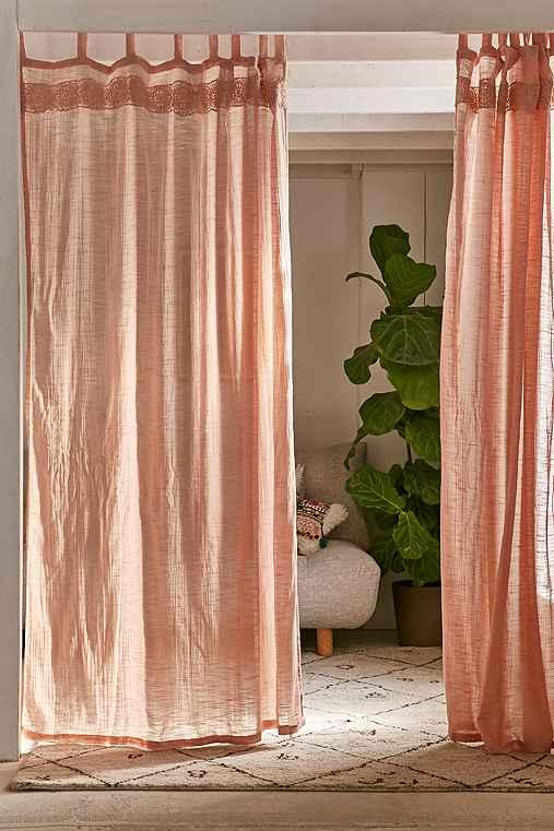 Adara Trim Curtain,PINK,52X84