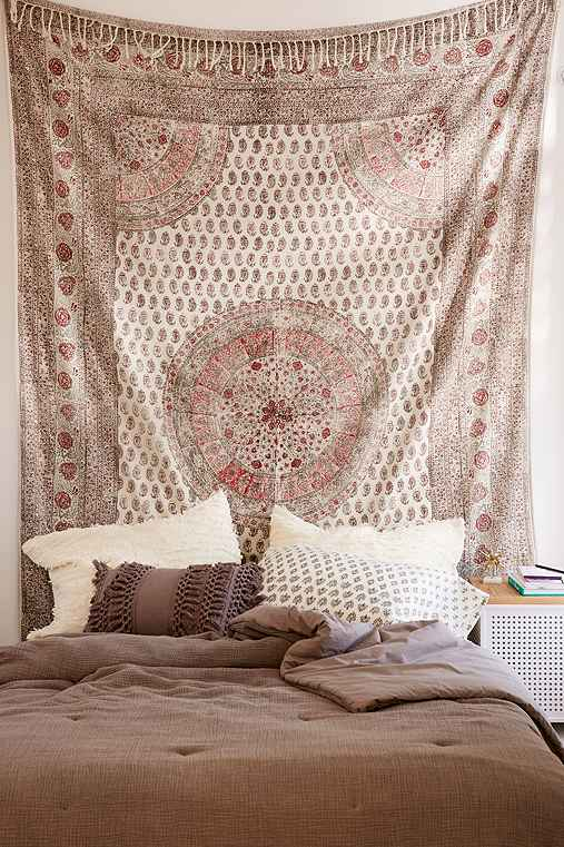 Adaline Medallion Gauze Tapestry,RED,ONE SIZE