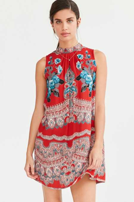 Ecote Scarf Print Mock Neck Mini Shift Dress