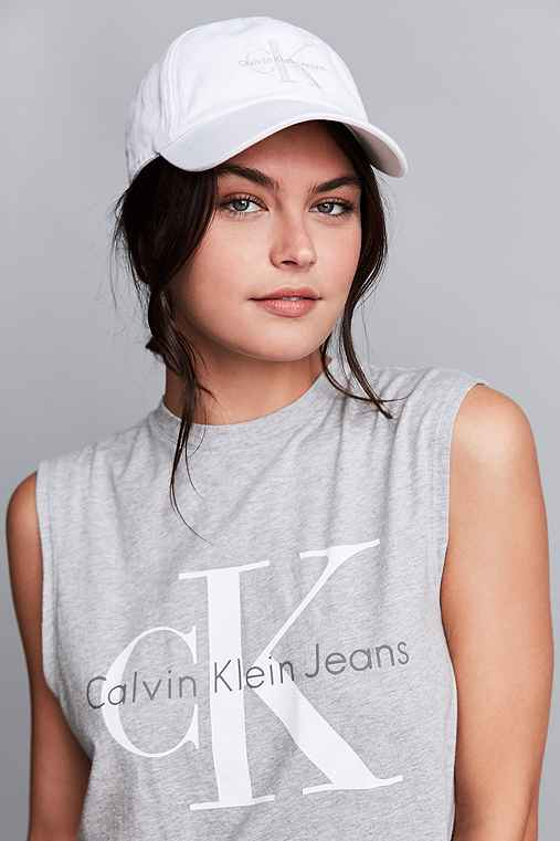Calvin Klein Canvas Baseball Hat,WHITE,ONE SIZE