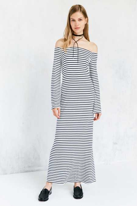 Kimchi Blue Stripe Off-The-Shoulder Bell-Sleeve Maxi Dress