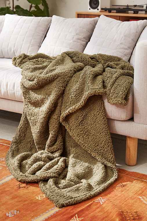 Amped Fleece Throw Blanket,OLIVE,ONE SIZE
