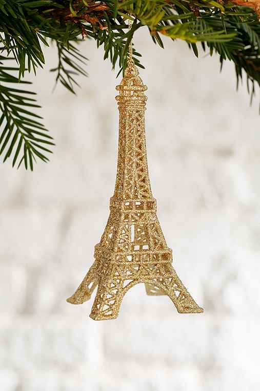 Eiffel Tower Glitter Ornament,GOLD,ONE SIZE