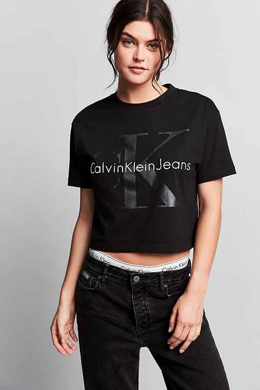Calvin Klein For UO Heavy Knit Cropped Tee,BLACK,M