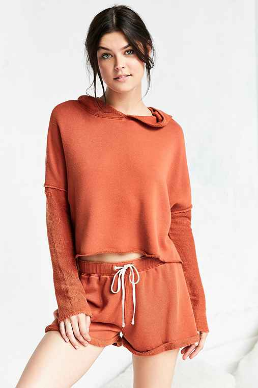 Out From Under Cropped Washed Hoodie Sweatshirt,RUST,S