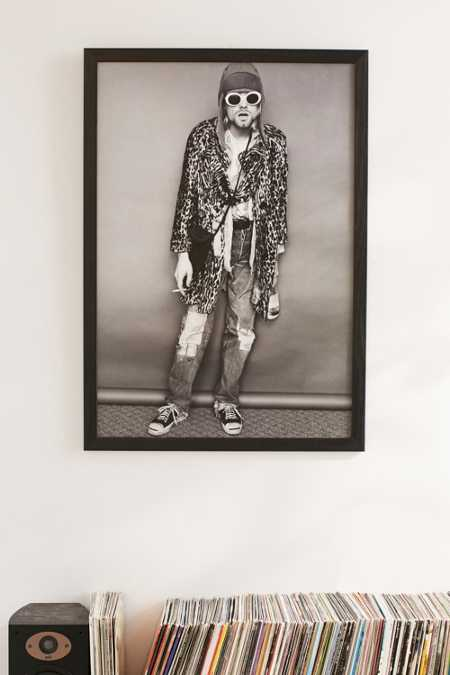 Black + White Kurt Cobain Framed Art Print