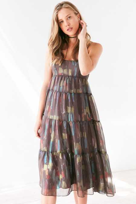 Ecote Alora Tiered Babydoll Midi Slip Dress