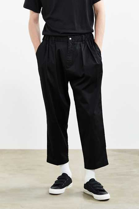 UO Relaxed Elastic Waist Cropped Trouser Pant