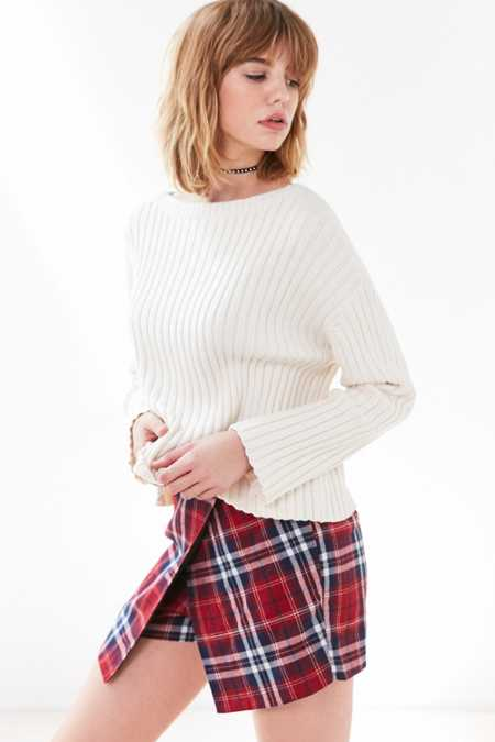 Cooperative Plaid Wrap Skort