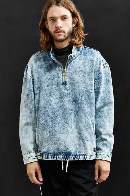 UO Bleached Denim Mock Neck Pullover Shirt