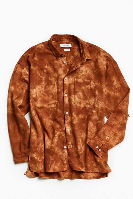 UO Acid Bleached Drop Shoulder Flannel Button-Down Shirt