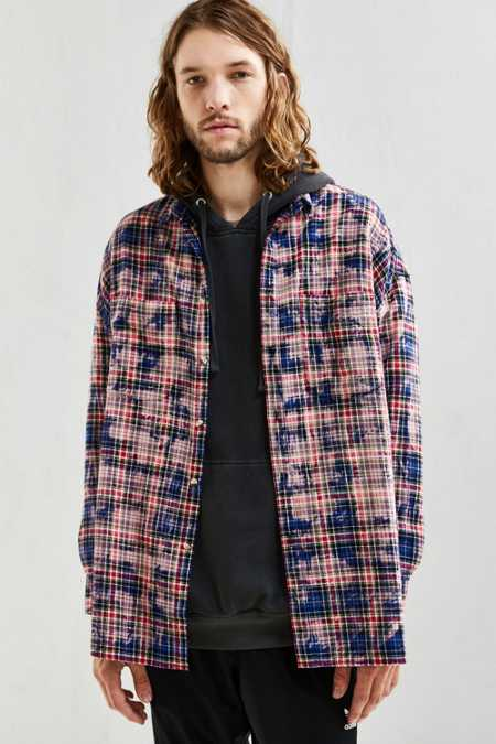 UO Bleached Out Drop Shoulder Flannel Button-Down Shirt