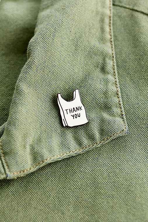 Adam J. Kurtz Thank You Bag Pin,WHITE,ONE SIZE