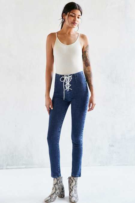 BDG Lace-Up Twig High-Rise Skinny Jean