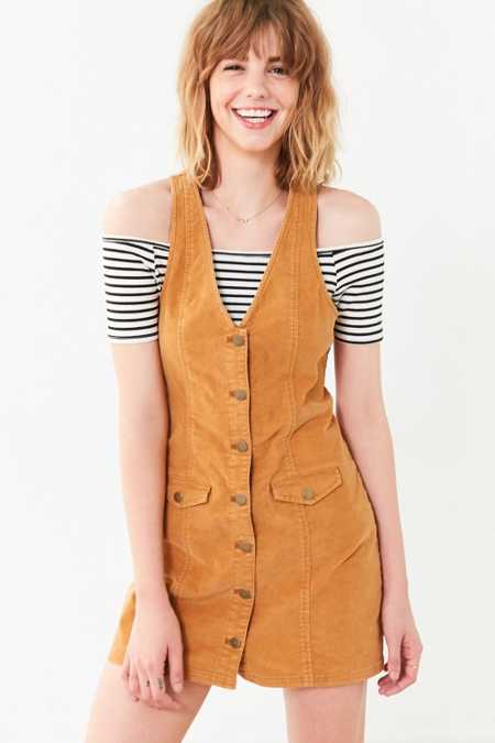 Cooperative Parker Corduroy Button-Down Mini Jumper Dress