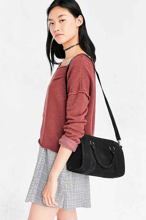 Audrey Suede Duffel Bag,BLACK,ONE SIZE
