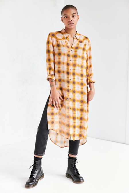BDG Courtney Plaid Button-Down Maxi Shirt