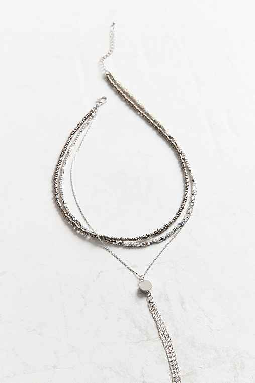 Naomi Beaded Lariat Necklace,SILVER,ONE SIZE