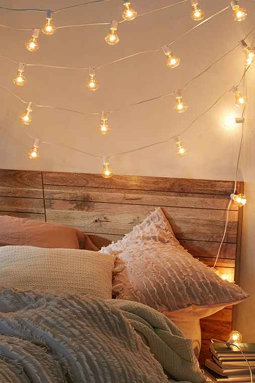 Faceted Bulb String Lights,WHITE,ONE SIZE