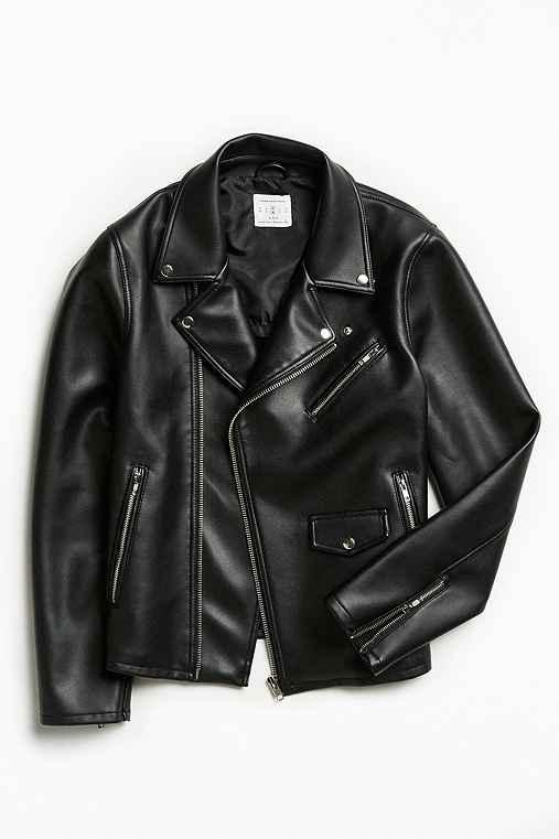 UO Faux Leather Moto Jacket,BLACK,XS